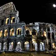 The Moon Above The Colosseum No2 Art Print