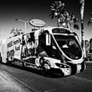 the sdx strip downtown express bendy bus on the Las Vegas strip Nevada USA Art Print