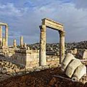 The Temple Of Hercules And Sculpture Of A Hand In The Citadel Amman Jordan Art Print by Robert Preston