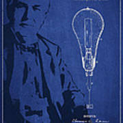Thomas Edison Incandescent Lamp Patent Drawing From 1890 Art Print by Aged Pixel