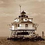 Thomas Point Shoal Lighthouse Sepia No. 2 Art Print