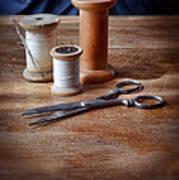 Thread And Scissors Art Print
