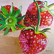 Three Strawberries Art Print
