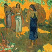Three Tahitian Women Against A Yellow Background Art Print