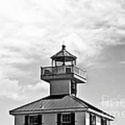 Top Of The New Canal Lighthouse - Bw Art Print