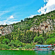 Tourboat Stops By Ancient Tombs In Daylan-turkey  Art Print