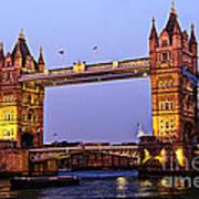 Tower Bridge In London At Dusk Art Print by Elena Elisseeva
