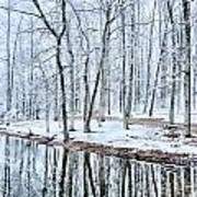 Tree Line Reflections In Lake During Winter Snow Storm Art Print