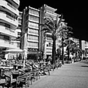 Tree Lined Seafront Promenade With Restaurants And Apartment Blocks Salou Catalonia Spain Art Print