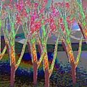 Trees Around Faal Season  Digitally Painted Photograph Taken Around Poconos  Welcome To The Pocono M Art Print