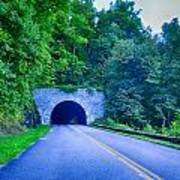 Tunnel Through Mountains On Blue Ridge Parkway In The Morning Art Print