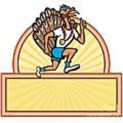 Turkey Run Runner Side Cartoon Isolated Art Print by Aloysius Patrimonio