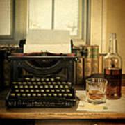 Typewriter And Whiskey Art Print