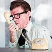 Unhappy Nerd Businessman Yelling Down Retro Phone Art Print