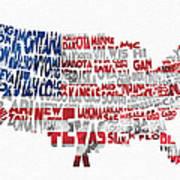 United States Typographic Map Flag Art Print