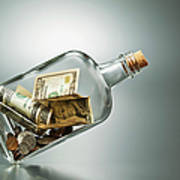 Us Dollar Banknotes  In A Bottle Art Print