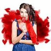 Valentines Day Woman Eating Heart Candy Art Print