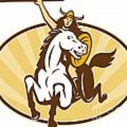 Valkyrie Riding Horse Retro Art Print