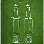Vintage Beer Bottle Patent Drawing From 1934 - Green Art Print