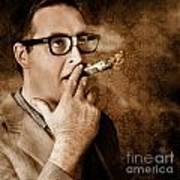 Vintage business man smoking money in success Art Print