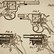 Vintage Colt Revolver Drawing  Art Print