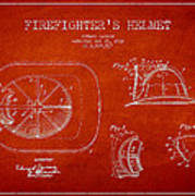 Vintage Firefighter Helmet Patent Drawing From 1932 Art Print