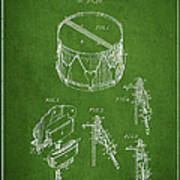 Vintage Snare Drum Patent Drawing From 1889 - Green Art Print