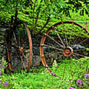 Vintage Wagon Wheel Gate Art Print