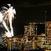 Waikiki Fireworks Art Print