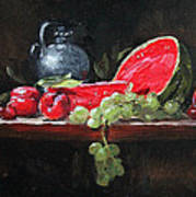 Watermelon And Plums Art Print