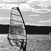 Wind Surfer Bw Art Print