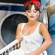 Woman Washing Clothes Art Print