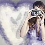 Woman With Camera. Love In A Still Frame Capture Art Print