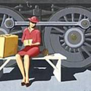 Woman With Locomotive Art Print