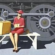 Woman With Locomotive Art Print
