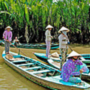 Women Waiting For Passengers On Mekong River Canal-vietnam Art Print