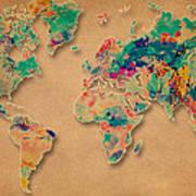 World Map Watercolor Painting  Art Print