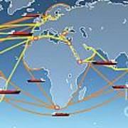 World Shipping Routes Map Art Print by Atiketta Sangasaeng