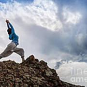 Yoga On Mountain Art Print