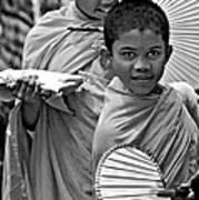 Young Monks Bw Art Print