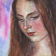 Young Woman Watercolor Portrait Painting Art Print