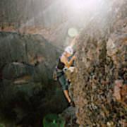 A Man Rock Climbing In Pinnacles Art Print