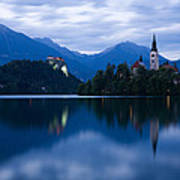 Dusk Over Lake Bled Art Print