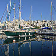 Reflections In Mikrolimano Port Art Print