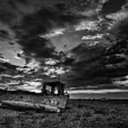 Stunning Black And White Image Of Abandoned Boat On Shingle Beac Art Print