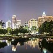 Skyline Of Uptown Charlotte North Carolina At Night Art Print