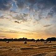Stunning Summer Landscape Of Hay Bales In Field At Sunset Art Print