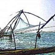 Fishing Nets On The Sea Coast In Alleppey Art Print