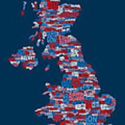 Great Britain Uk City Text Map Print by Michael Tompsett
