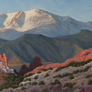 120402-1836 Pikes Peak From The Garden Of The Gods Art Print